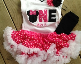 Hot pink and black minnie mouse birthday outfit - 1st birthday shirt petti skirt and headband - custom birthday shirt