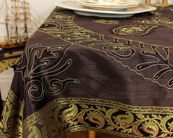 """Ornamental Embroidered Rectangular Tablecloth (Coffee Brown, 52"""" X 70"""")"""