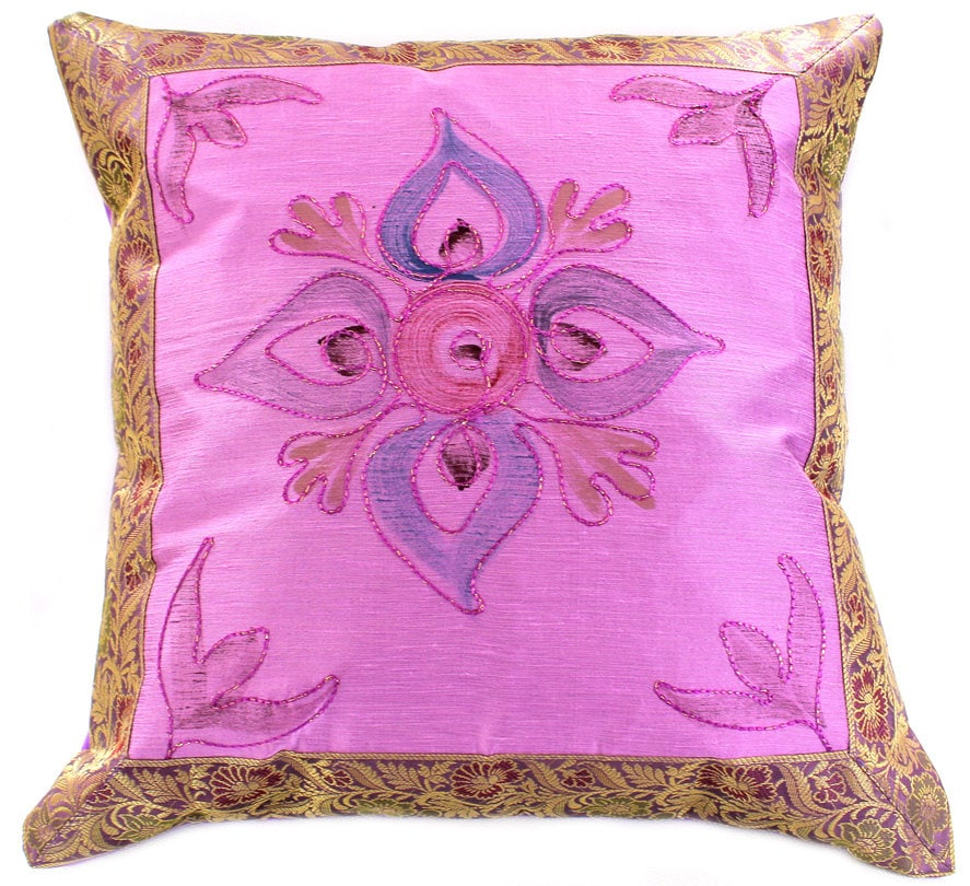 hand painted 16 x 16 floral throw pillow cover by banarsidesigns. Black Bedroom Furniture Sets. Home Design Ideas