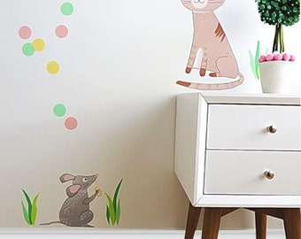 Kids Wall Decal Girl's Room Decor Nursery Baby Kids Wall Decal Cat and Mouse 2