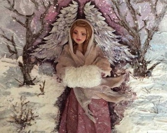 Winter's Angel - Original Mixed Media Painting