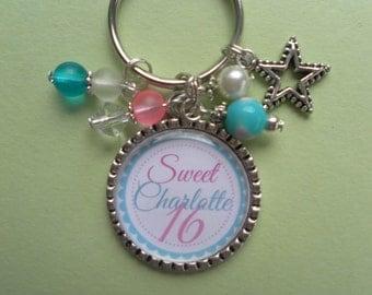 Milestone Birthday Sweet 16 Personalized Keychain Necklace