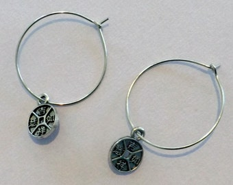 Adorable Silver Hoops with chinese charm dangles