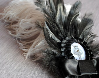 ON SALE-The Flying Circus-Victorian Gothic Hairpin Fascinator - Ready to Ship