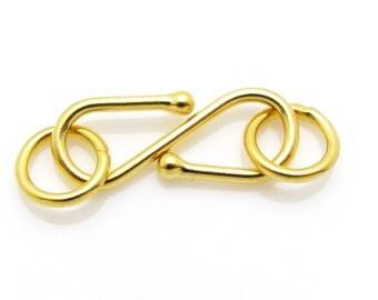 1 Set, 15mm, 24k Gold Vermeil Clasp