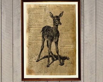 Baby deer poster Dictionary page Animal print Wildlife decor WA393
