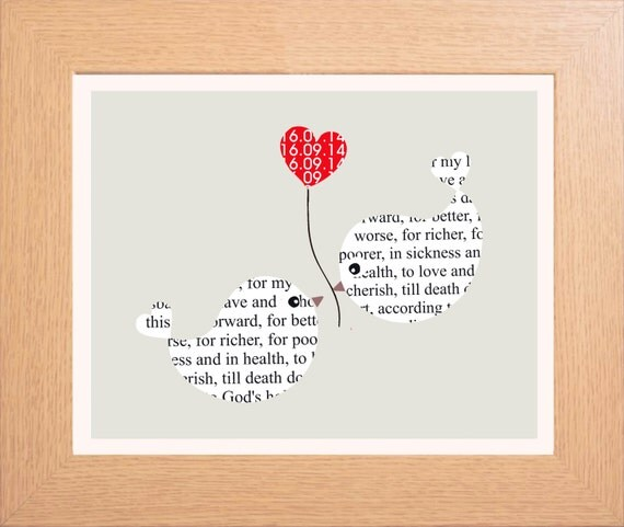 framed personalized wedding vows typography by