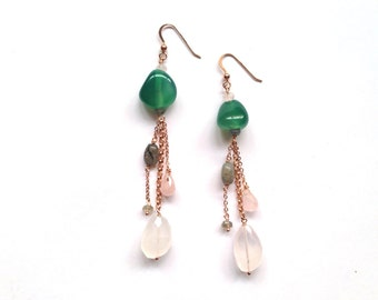 Earrings necklaces Silver Pink with green aventurine, Rose Quartz and gray labradorite