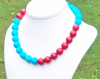 Blue and Red Necklace Aqua and Red Necklace Color Block Necklace Unique Necklace Chunky 15mm Jade and Red Agate Gemstone Bead Necklace Aqua