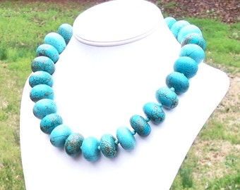 Macy - GORGEOUS Huge Chunky 25mm Turquoise Gemstone Rondel Beaded Necklace