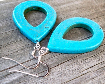 Atilla - Large Chunky Turquoise Teardrop Dangle Fish Hook Earrings
