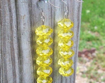 Mistee - Long Yellow Faceted Rondel Beaded Silver Dangle Fish Silver Hook Earrings