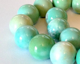 Addy - Chunky 16mm Round Sea Green Gemstone Beaded Necklace - GORGEOUS