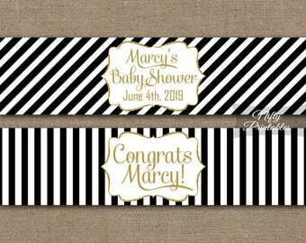 Water Bottle Labels - Black White Stripes Party Printable - Birthday, Baby Bridal Shower or Anniversary - Black Gold Waterbottle Labels BGL