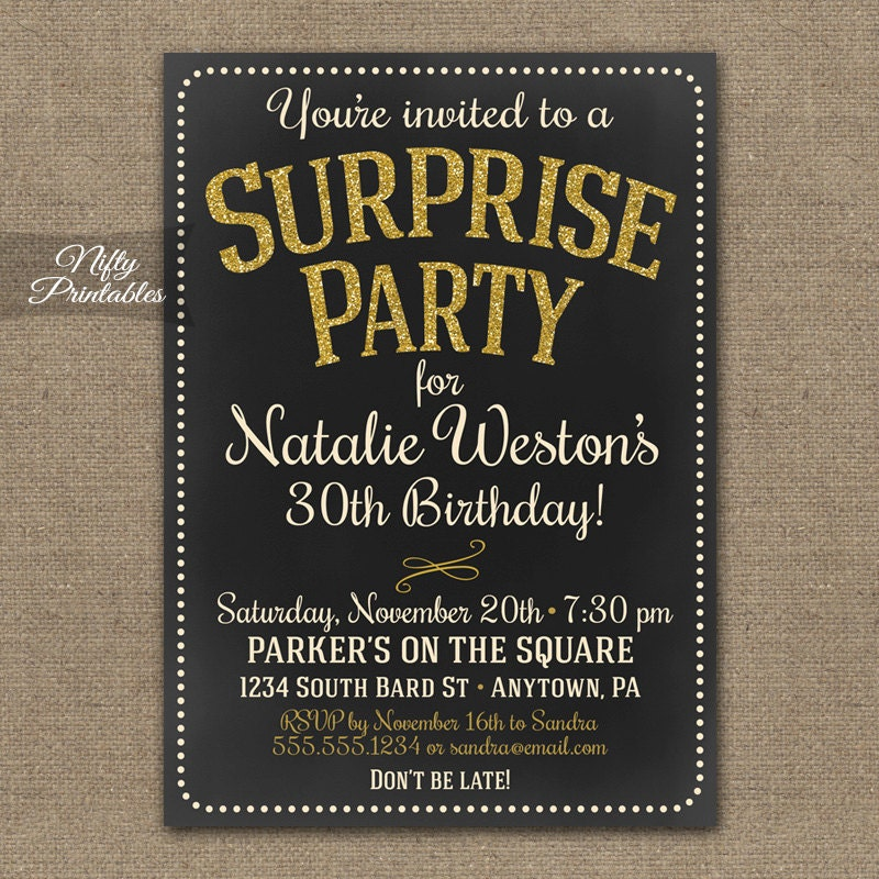 Surprise Party Invitations Printable Chalkboard Surprise