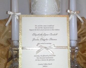 Glitter Gold and Ivory Wedding Invitation FREE SHIPPING!!!