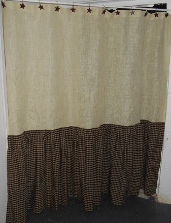 Ruffled burlap amp homespun shower curtain extra long country primitive