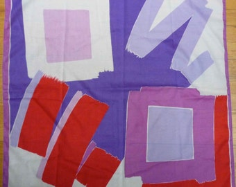 Vintage 1980s Super Abstract Bold Jewel Tone Color Scarf! Hey WOW! THATS BOLD!