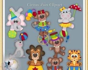 Circus Fun Clipart, zoo animals, monkey, lion, seal, elephant, tiger