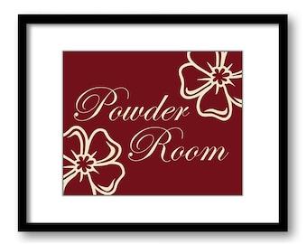 INSTANT DOWNLOAD Bathroom Decor Bathroom Print Red Burgundy Bathroom Art Print White Flowers Powder Room Wall Decor Modern Minimalist