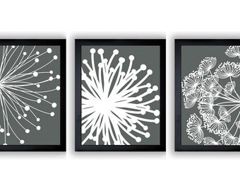 INSTANT DOWNLOAD Dark Grey White Set of 3 Dandelion Art Printable Abstract Art Flower Print Wall Decor Modern Minimalist Bathroom Bedroom
