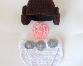 Princess Leia Baby Costume Hat And Diaper Cover Set From Star Wars For Girl Newborn Baby Big Flower Halloween / Cosplay