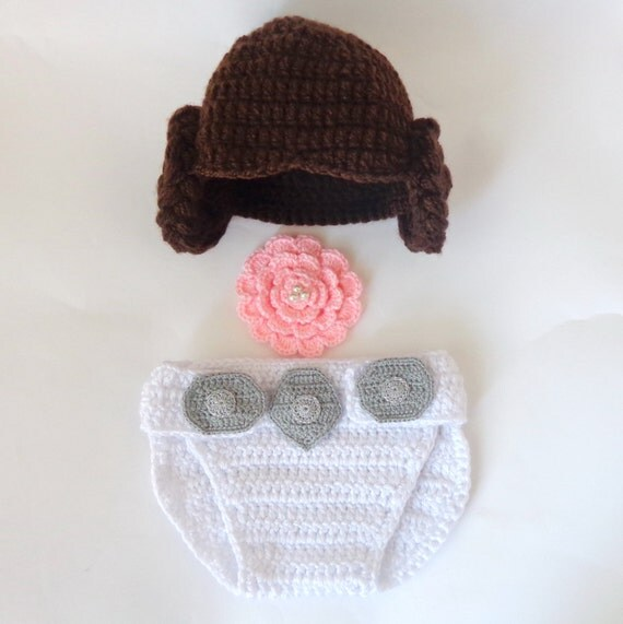 Crochet Pattern Princess Leia Hat : Princess Leia Style Crocheted Baby Hat And Diaper by ...