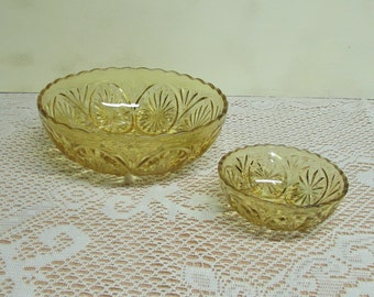 "Anchor Hocking Star and Cameo ~  Amber Large and Small Bowls ~ Set of 2 ~  8"" and 3"" Size"