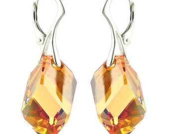 925 Sterling Silver Big Cubist Swarovski Crystal Leverback Earrings