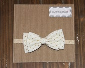 Baby/Girls Handmade Bow Headband Off White with Gold Glitter Polka Dots Gold Shimmer Band Christmas
