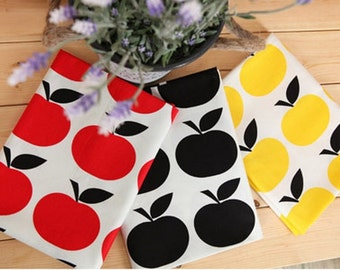 Cotton Fabric Apple in 3 Colors By The Yard