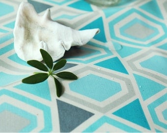 Laminated Cotton Fabric Geometric Triangle Blue By The Yard
