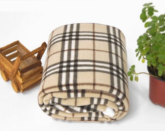Fleece Fabric Plaid Beige By The Yard