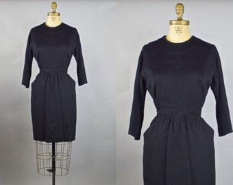 First Folio Dress / 50s Black Wool Dress /  Wiggle Dress