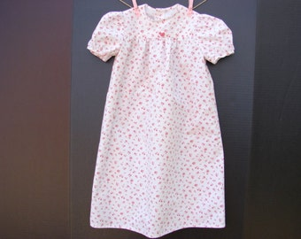 Soft Cotton Nightgown Little Girls Size 2 Vintage Style Off White with Flowers in Shades of Rose
