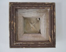 FREE SHIPPING!!! Handmade and Handcrafted Framed Reclaimed Antique Ceiling Tile.  Rustic wood and metal wall hanging art.
