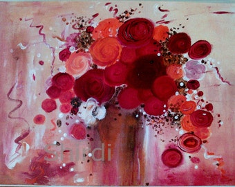 Blossom Flower Bouquet of flowers Original abstracte Acrylic Painting