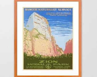Zion National Park Poster - WPA Poster - National Park Art - Great Outdoors Poster
