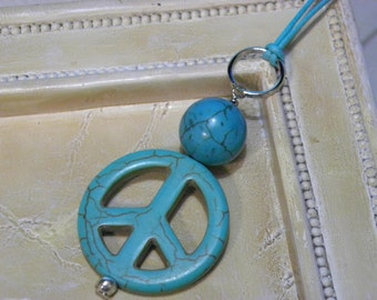 Teal Peace Sign Cotton Cord Necklace