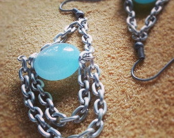 Earrings -  Blue Sea Glass and Nickel Chain