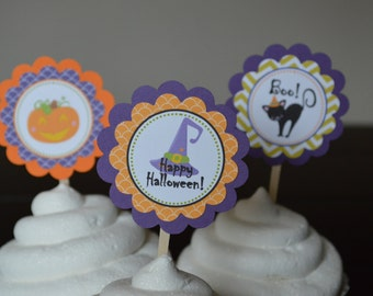 Halloween Cupcake Toppers - Halloween Party - Pumpkin Cupcake Toppers - Boo - Orange and Black - Spider Cupcake Toppers -  Set of 12