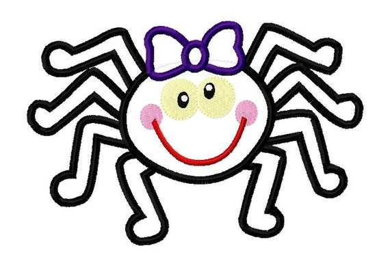 Spider Girl Halloween Applique Machine Embroidery Design 4x4 and 5x7