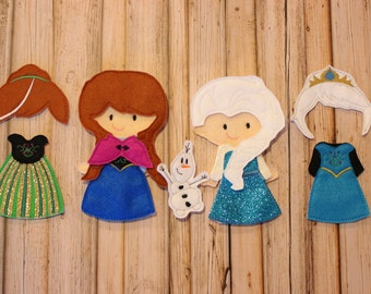 Deluxe Snow Queen and Snow Princess Inspired Felt Non Paper Doll Set, --Great for Church, Cars, and Quiet Play!
