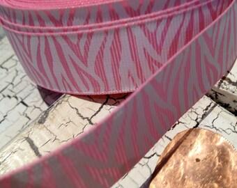 "5 Yards 7/8"" PREPPY Pink and White ZEBRA Animal Print Grosgrain Ribbon"