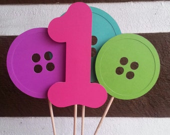 Cute as a button birthday party centerpiece turning 1 one!!