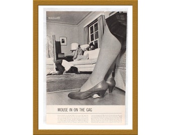 "1960 Vintage B&W Print / White Mouse hideout / Photographer Ralph Crane / 9"" x 13"" /  Buy 2 ads Get 1 FREE"
