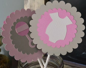 Baby Girl Shower Cupcake Toppers, Pink and Gray Cupcake Toppers, Baby Shower Cupcake Toppers