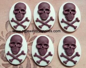 18mm x 13mm oval Skull and bones crossbones pirate cameos 6 pcs per lot l