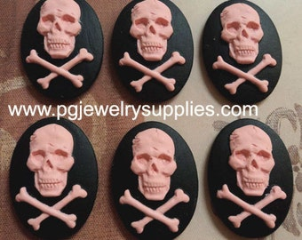 25x18 oval resin cameos cabochons pirate crossbones skull and bones 6 pc lot