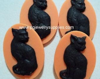 25mm x 18mm resin cameo black cat on orange background 4 pc lot l halloween
